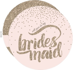Soft Pink Glitter Will You Be My Bridesmaid Card