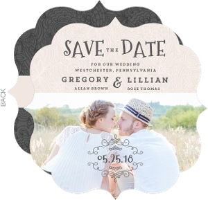 Pink Vintage Lace Save The Date Announcement