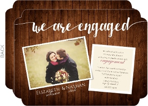 Rustic Wood Grain Engagement Announcement Party Invitation