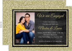 Small Glitter Framed Chalkboard Engagement Party Invitation