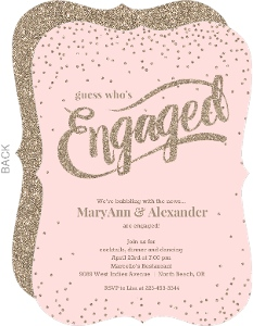 Soft Pink Glitter Engagement Party Invitation