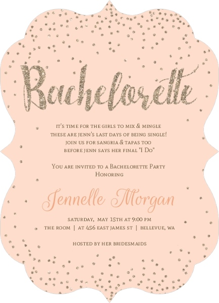 Champagne Peach Gold Bachelorette Party Invitation – Invitation Bachelorette Party