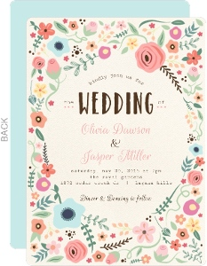 Whimsical Floral Garden Frame Wedding Invitation