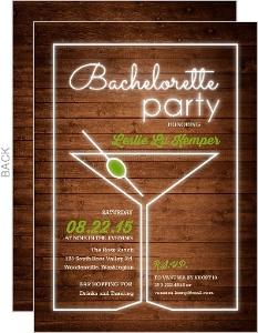 Neon Light Martini Glass Bachelorette Party Invitation