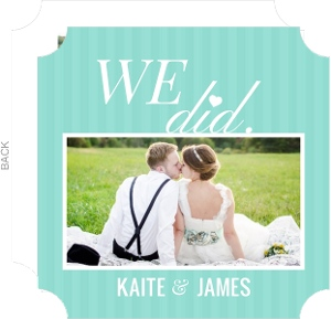 We Did Turquoise Heart Wedding Announcement