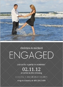 Gray and White Quilted Engagement Invitation