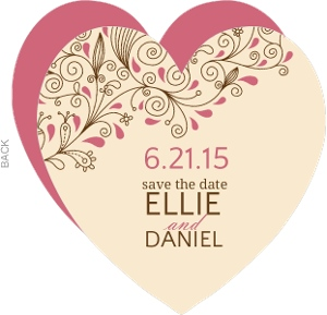 Vines and Flourishes Heart Shaped Wedding Invite