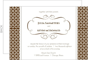 Brown Formal Pattern Wedding Invitation