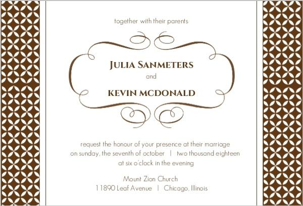 Brown Formal Pattern Wedding Invitation Wedding Invitations
