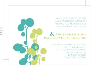 Turquoise and Green Bright Flowers Wedding Invitation