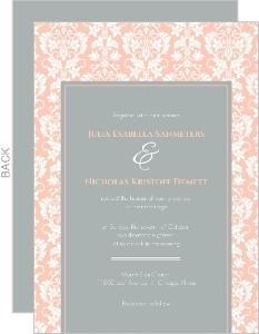 Peach and Grey Damask Wedding Invitation