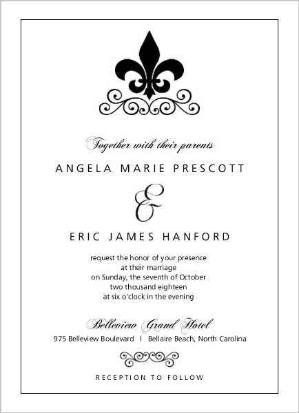 black and white fleur de lis wedding invitation | wedding invitations, Wedding invitations