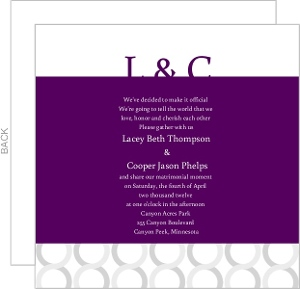 Plum And Silver Wedding Invitation