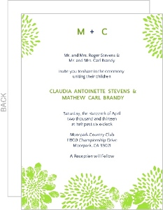 Modern Blue And Green Floral Wedding Invitation