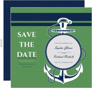 Green And Blue Nautical Themed Save The Date