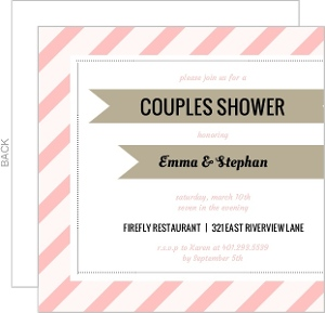 Pink Diagonal Stripes With Gray Ribbon Bridal Shower Invite