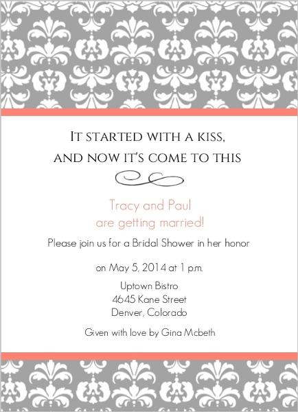 Grey Damask With Coral Stripes Bridal Shower Invitation