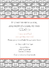 Grey Damask With Coral Stripes Bridal Shower Invitation