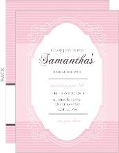 Chocolate And Pink Vintage Mirror Bridal Shower Invitation
