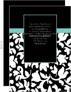 Elegant Black White And Aqua Rehearsal Dinner Invite