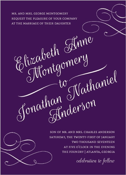 Elegant Purple Flourish Pattern Wedding Invitation