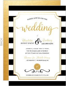 Chic Black & White Modern Wedding Invitation
