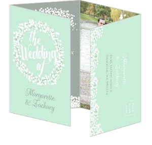 Whimsical Babys Breath Wedding Invitation Quadfold Card