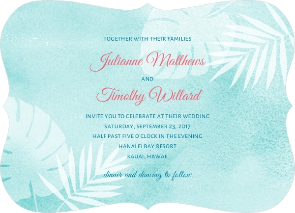 Tropical Watercolor Palms Wedding
