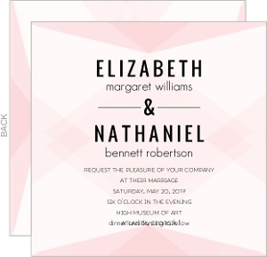 Geometric Pink Blush Pattern Wedding Invitation