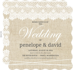 Beautiful Burlap & Vintage Lace Wedding Invitation