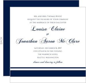 Classic Navy Stripe Wedding Invitation