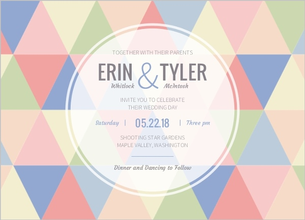 Geometric Modern Pastel Pattern Wedding Invitation