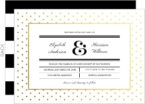 Faux Foil Modern Dot Frame Wedding Invitation