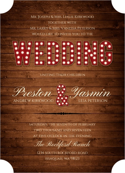 Marquee Rustic Wood Decor Wedding Invitation