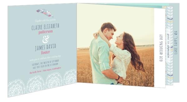 Chic Boho Feather Wedding Invitation
