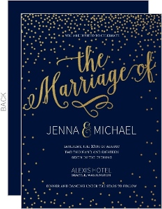 Faux Foil Midnight Stars Wedding Invitation