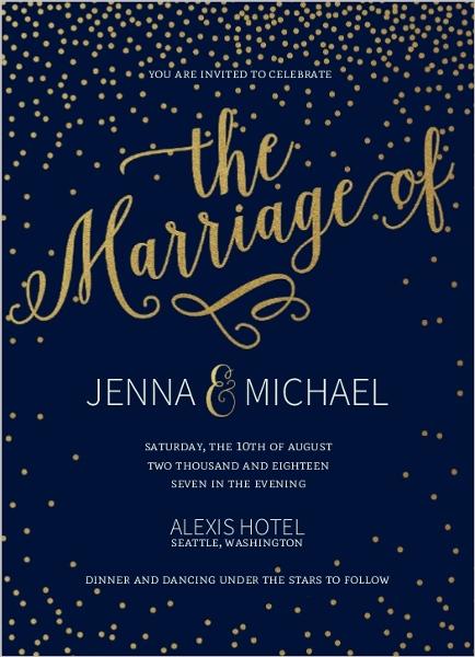 Faux Foil Midnight Stars Wedding Invitation