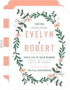 Spring Greenery Wreath Wedding Invitation
