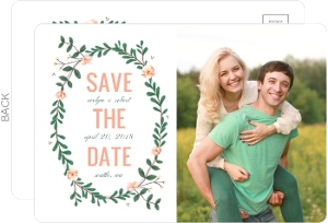 Spring Greenery Wreath Wedding Save The Date Postcard
