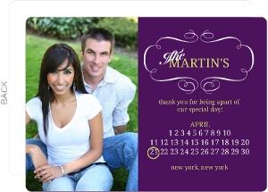 Royal Purple and Green Calendar Wedding Favor Magnet