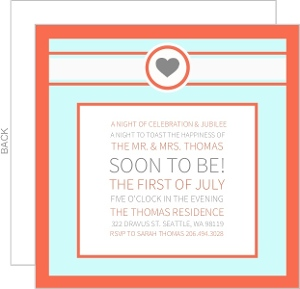 Blue And Coral Rehearsal Dinner Invitation