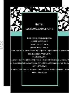 Elegant Black White And Aqua Wedding Enclosure Card