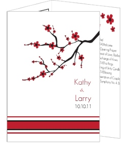 Black White And Pink Cherry Blossom Wedding Program