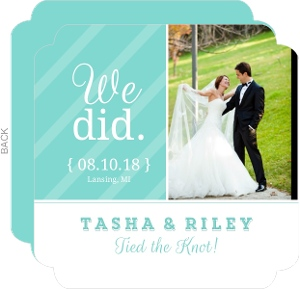Turquoise and White Stripes Wedding Announcement