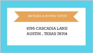 Modern Orange and Aqua Stripes Address Label