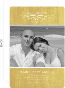 Gold Metallic Antique Style Save The Date