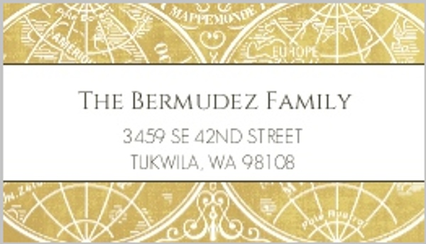 Gold Metallic Antique Style Address Label