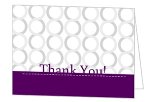 Plum and Silver Thank You Card