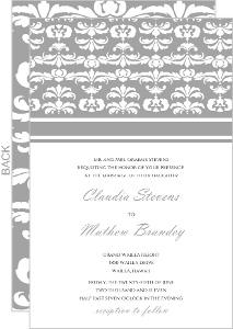 Gray and White Striped Wedding Invitation