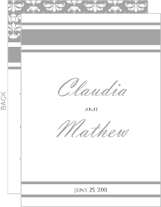 Gray and White Striped Wedding Program